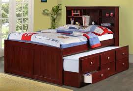 Twin Bed With Pull Out Bed Kids Room Stunning Dark Wood Twin Over Double Bunk Bed With Stairs