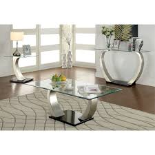 3 piece coffee table set furniture of america navarre 3 piece coffee table set in satin