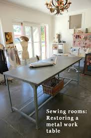 project sewing room restoring a metal work table to use for my