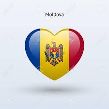 Moldova Flag Love Moldova Symbol Heart Flag Icon Vector Illustration Royalty