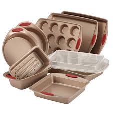 rachael ray cucina 10 piece latte and cranberry bakeware set 52410