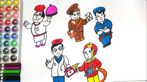 how to draw and color community helpers drawing of community