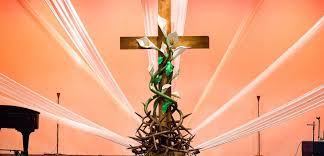 easter religious decorations winding thorns church stage design ideas