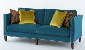 extraordinary blue velvet cool couches with wooden base legs added