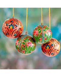 deal alert papier mache ornaments blossoms set of 4