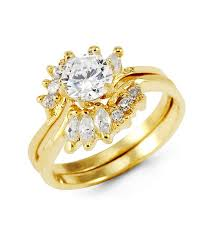 bridal gold rings 14k yellow gold marquise crown cz ring set cubic