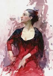 sunny apinchapong flamenco dancer watercolor 20 x 14 inches
