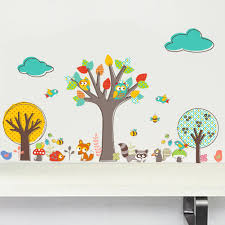 online get cheap fox tree nursery aliexpress com alibaba group 30x90cm cartoon animal wall sticker kids baby bedroom decoration fox squirrels on tree diy decals nursery