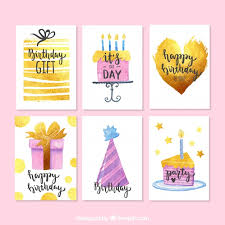 watercolor birthday cards pack vector free download