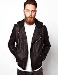 mens leather biker jacket asos faux leather biker jacket with jersey hood in black for men