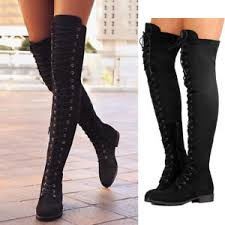 womens flat boots uk womens the knee flat boots casual lace up side zip