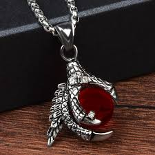 crystal ball necklace images Chanfar classic dragon claw stainless steel necklace punk red jpg