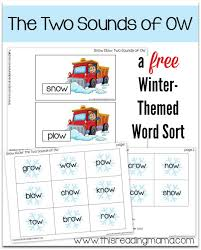 free snow themed word sort the two sounds of ow this reading mama