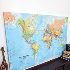 World Map Scotland by World Canvas Map Print By Maps International Notonthehighstreet Com