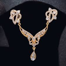 zircon necklace sets images Rose gold color high quality zircon jewelry set design 1 jpg