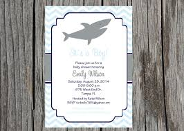 printed shark baby shower invitation baby boy nautical
