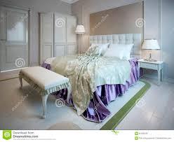 banc chambre coucher lit et banc de luxe dans la chambre à coucher illustration stock