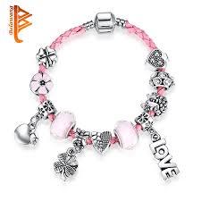 murano glass beads bracelet silver images Fashion sweet heart flower charms bracelet for women pink murano jpg