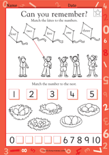 matching objects with numbers 1 5 kindergarten math practice