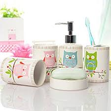 5 Piece Bathroom Set by Amazon Com Brandream 5 Piece Kids Bathroom Sets Owl Bathroom
