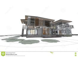 House Architecture Drawing Architecture Drawing Modern House 3d Illustration Stock