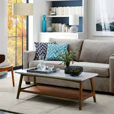 Living Rooms Without Coffee Tables Reeve Mid Century Rectangular Coffee Table West Elm
