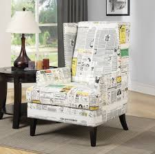 white newspaper print wing accent chair totally rad homes