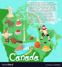 Canada Map by Canada Map Travel And Landmark Concept Royalty Free Vector