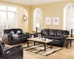 Living Room Decor Black Leather Sofa  STIFLER - Living room decor with black leather sofa