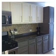 Two Color Kitchen Cabinets White Top Cabinets Gray Bottom Cabinets Contemporary Kitchen