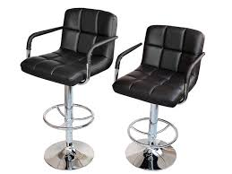 Black Swivel Bar Stool 2 Black Pu Leather Modern Design Adjustable Swivel Barstools