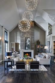Unique Pendant Lights Modern Living Room With Fireplace And High Ceiling Design Using