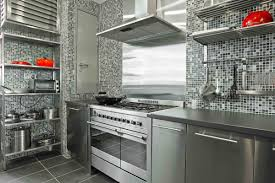 Small L Shape Kitchen Decoration Using Silver Tin Metal Kitchen - Metal kitchen backsplash