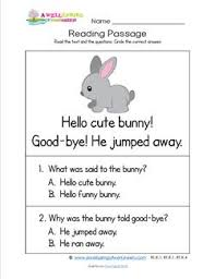 kindergarten reading passage kindergarten reading passages bunny a wellspring