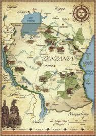 Tanzania Map A Journey Of Postcards The Map Of Tanzania Maps Pinterest