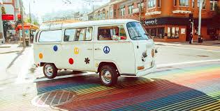 volkswagen van background painted ladies tour company