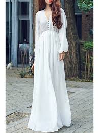 white maxi dress high waisted v neck sleeve chiffon maxi dress white maxi