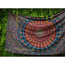 Tapestry On Bedroom Wall Indian Hippy Mandala Orange Green Wall Tapestry Bohemian Twin