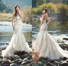 outdoor wedding dresses 2015 new arrival mermaid wedding dresses strapless organza ruffles