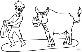 toreador and bull coloring page free printable coloring pages