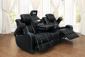 Reclining Sofa With Console by Tony Home Theatre Collection Led Lighting Cup Holders Adjustable