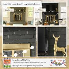 dramatic fireplace makeover using general finishes lamp black milk
