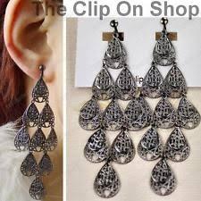 Gunmetal Chandelier Earrings Clip On Chandelier Earrings Ebay
