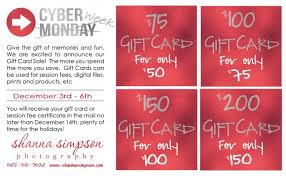 gift cards sale cyber week gift card sale shanna photography