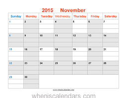 november 2015 calendar printable template word pdf image