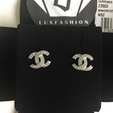 cc earrings chanel chanel classic cc stud earrings in silver from