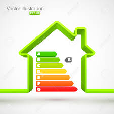 green house outline with energy efficiency rating royalty free