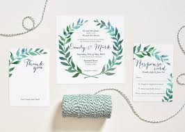 watercolor wedding invitations watercolor wedding invitation leaves wreath set square
