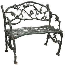 green painted cast iron two seat american twig bench cast iron