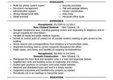 Sample Resume For Receptionist by Equipment Engineer Sample Resume Haadyaooverbayresort Com